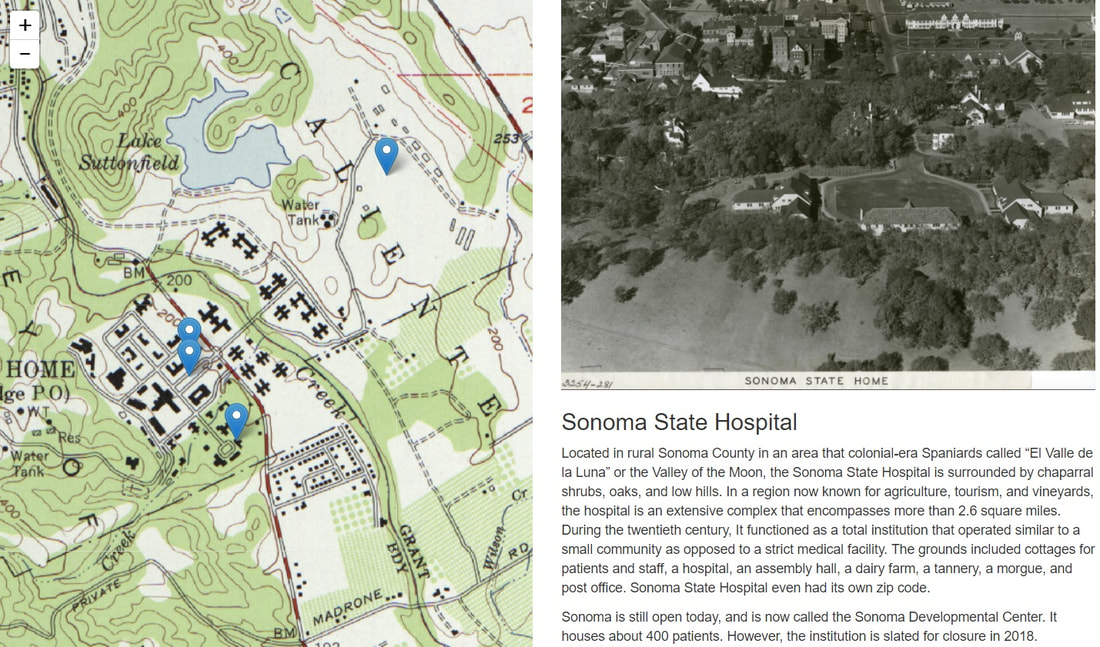 Screenshot of the Sonoma State Hospital Narrative and Visual History Site. Links out to the external site.